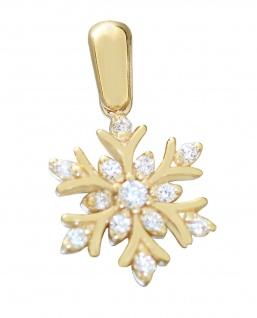 Anhänger Gold 585 Schneeflocke Zirkonias Kristall 14 Kt. kleiner Kettenanhänger