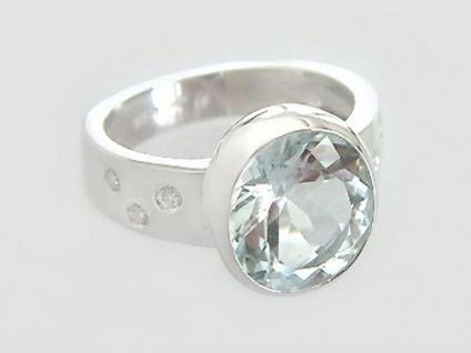 Aquamarin Ring Weißgold 585 mit Brillanten Weißgoldring Brillantring Ring Gold