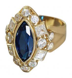 Großer Designerring - Goldring 750 - Ring Gold mit Zirkonias - Damenring 18 kt