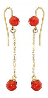Ohrhänger Gold 750 mit echten Korallen Ohrringe Ohrstecker Ohrschmuck Koralle