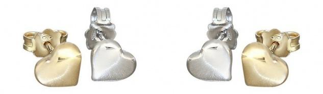 Kleine Herz Ohrstecker Gold 750 oder Weißgold - Ohrringe Herzen Goldherz Stecker