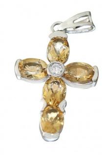 Luxus Kreuz Anhänger Gelbgold od. Weißgold 585 mit Zitrin Goldkreuz 14 Kt Citrin - Vorschau 2