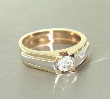 Massiver Goldring 585 Solitärring Gold mit Zirkonia Ring in Zweifarbengold