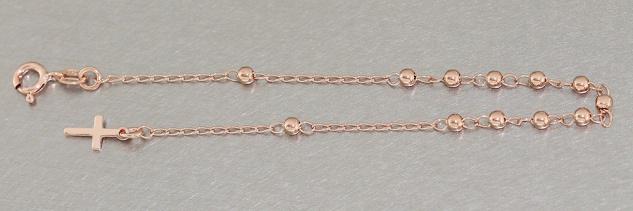 Rosenkranz Armband Silber 925 Rotgold Rosario - Silberarmband mit Kreuz Armkette
