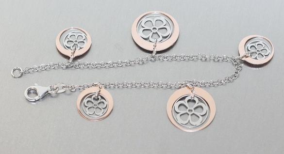 Armband Silber 925 Blumen Anhänger Rosegold Armkette Karabiner Damen Erbskette