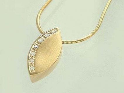 Collier - Schlangenkette und Brillant Anhänger Gold 585 - Goldkette - Halskette