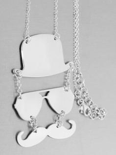Kette Silber 925 Collier Silberkette Hut Brille Schnurrbart Halskette Damen