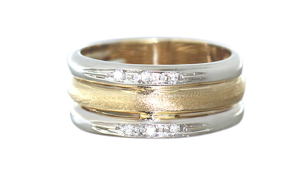 breiter bandring gold 585 bicolor brillantring goldring 14 kt damenring rw 55 kaufen bei hobra. Black Bedroom Furniture Sets. Home Design Ideas