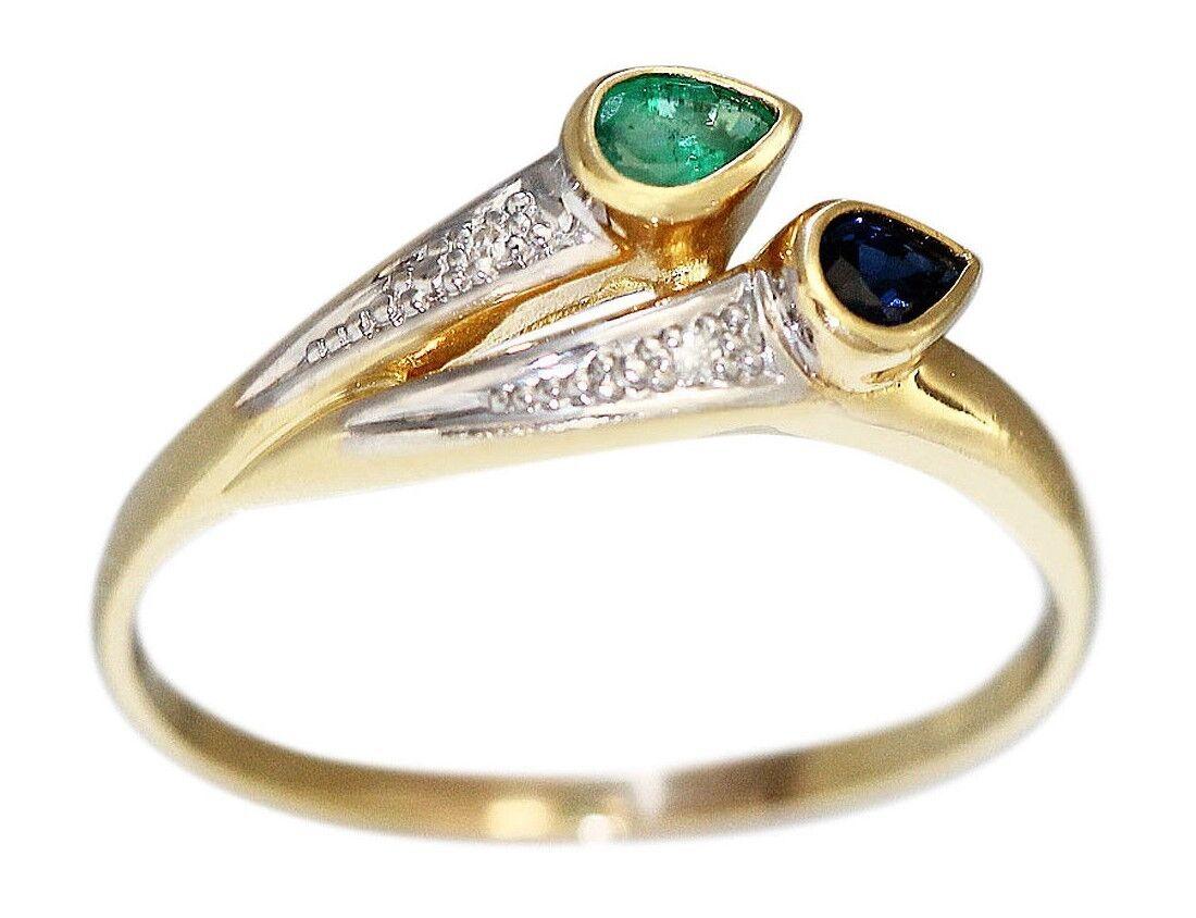 Außergewöhnlich Ring Gold 750 Diamanten Saphir Smaragd Damenring Ring 18 Karat &AP_06