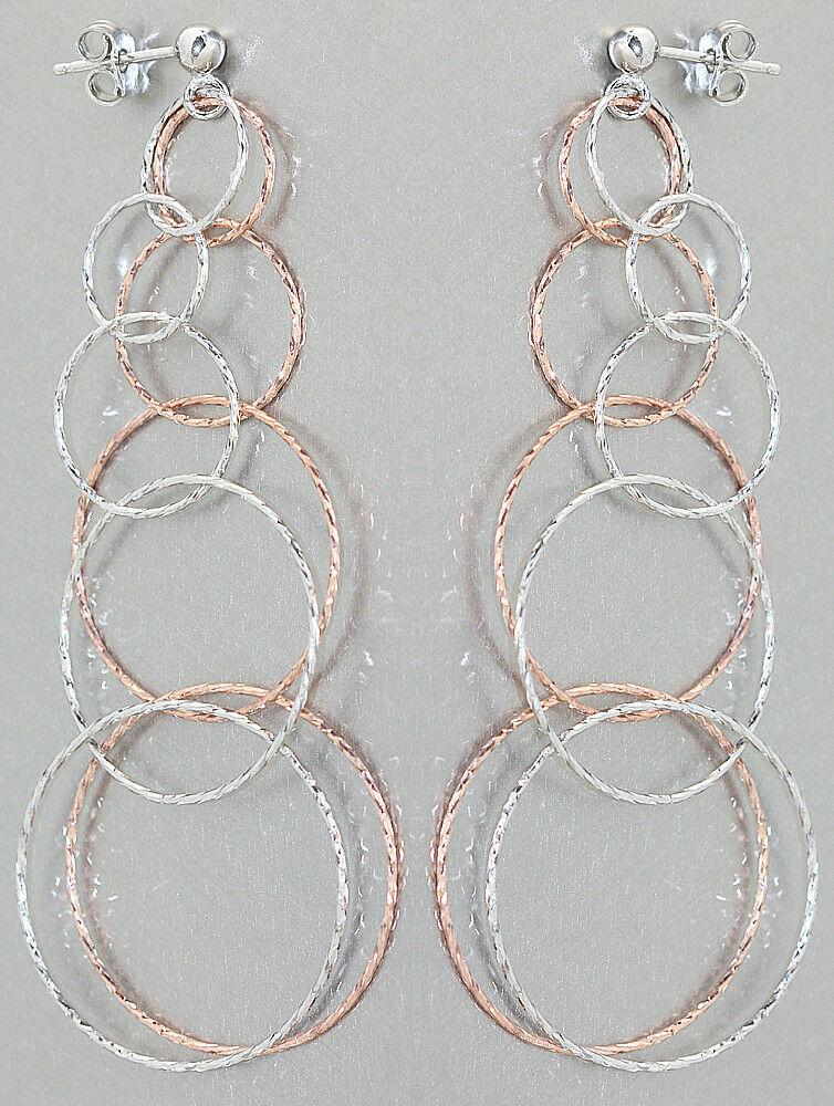 9 cm lange Ohrhänger Silber 925 bicolor Rotgold Ohrstecker Ohrringe Glieder rund