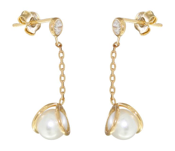 günstig kaufen San Francisco ganz nett Ohrhänger Silber 925 Gold mit Perle und Zirkonia - Ohrstecker -  Perlenohrhänger