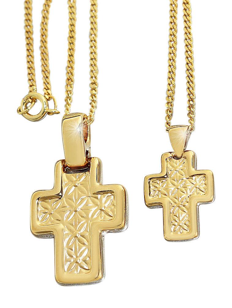 Anhänger Kreuz mit Herz Gold pl mit Panzerkette vergoldet oder Kautschukkette