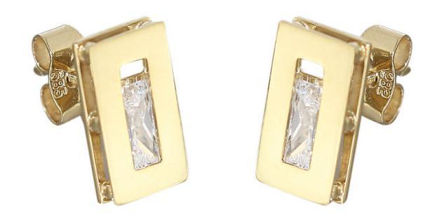 Designer Ohrstecker Gold 585 Rechteck mit Zirkonias Ohrschmuck Ohrringe 14 Kt