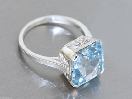 Ring in Silber 800 mit 1 Schmuckstein in hellblau 11x11 mm