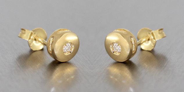 Ohrstecker Gold 585 mit Brillant Brillantohrstecker runde Goldohrringe Stecker - Vorschau 2