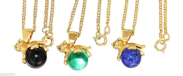 Anhänger Katze Gold pl auf Kugel blau grün schwarz an Panzerkette pl Goldkette