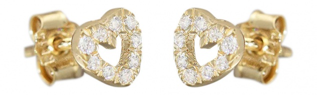 Ohrstecker Gold 14 Karat Kinder Ohrringe Goldherzen Zirkonias Gold 585