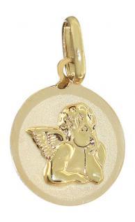 Kleiner Schutzengel Gold 585 - Goldanhänger 14 kt - Engel Kinder Taufe Kommunion