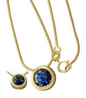 Anhänger Gold 585 Saphir / Goldkette Schlangenkette 14 Karat massiv