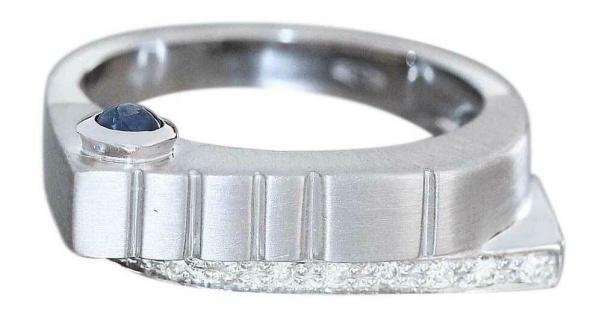 Luxus Weißgoldring 585 Brillantring mit Saphir Ring Weißgold 14 kt mit Diamanten