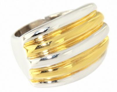 Massiver breiter Silberring 925 Damen Ring teilweise vergoldet Gold pl