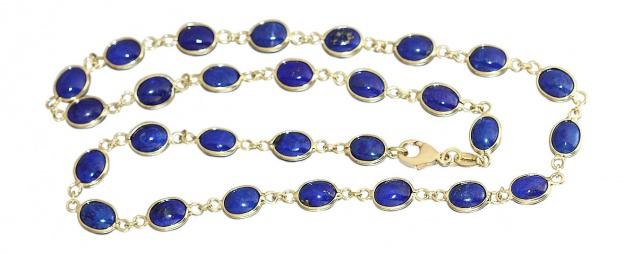 Wunderschöne Lapiskette - Goldkette 750 mit Lapis Lazuli - Kette Gold - Collier