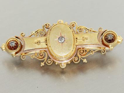 Brosche Gold 585 Goldbrosche 14 kt Gold Stabbrosche, Altschliffdiamanten