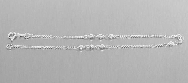 Fußkette Silber 925 mit Kugeln Silberkette Figarokette Fußkettchen Fußschmuck