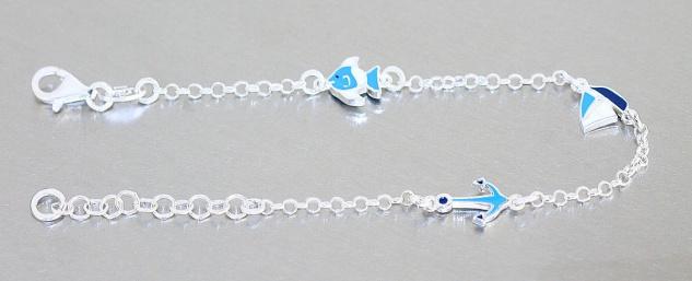 Armband Silber 925 Segelboot Anker Fisch blau Kinder Mädchen Armkette Karabiner