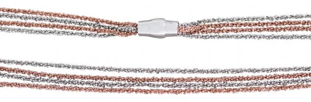 Silberkette oder Armband Silber 925 bicolor Magnetverschluss 4reihige Kette Rose
