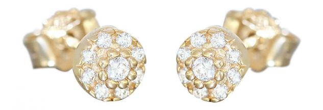 Ohrstecker Gold 585 Ohrringe m Zirkonias runde Stecker 14 Karat Ohrschmuck Blume - Vorschau 1