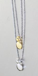 2-reihige Silberkette 925 Collier Anhänger vergoldet Halskette Karabiner