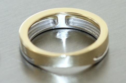 Ring Gold 585 bicolor mit Brillant 0, 06 ct. Solitär Goldring Damen RW 50 - Vorschau 3