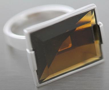 Esprit Gravity Earth großer Ring Silber 925 Zirkonia braun Silberring Damen