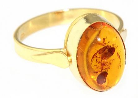 Klassischer Ring Gold 750 mit Bernstein Cabochon - Goldring - Bernsteinring 18kt