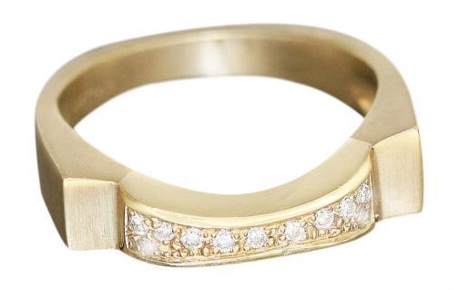 Brillantring 585 modernes Design massiver Goldring Ring Gold Damenring