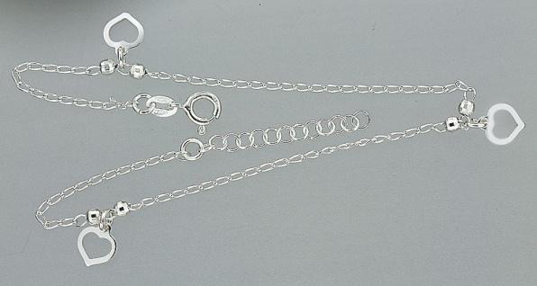 Fußkette Silber 925 massiv mit Herzen trendy Fußkettchen Silberkette Herz