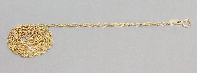 Feine massive Singapurkette Goldkette 585 zweifärbig Kette Gold Halskette