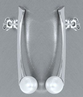 Langer Ohrschmuck Weißgold 585 mit Perlen Ohrstecker Gold Perlenohrstecker