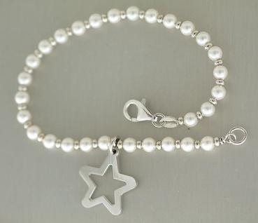Silberarmband 925 - Armband Silber 925 mit weißen Perlen + Stern Anhänger Kette