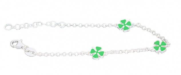 Kleeblatt Armband Silber 925 Glücksklee Kinder Mädchen Armkette Karabiner - Vorschau 4
