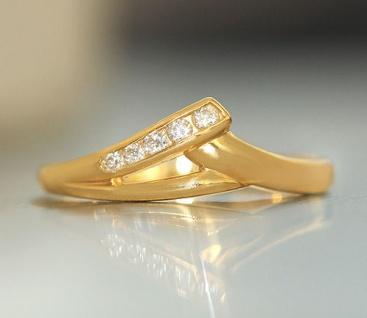 Feiner Goldring 750 - Ring echt Gold 18 kt mit Zirkonia - Damenring Designerring