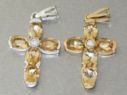 Luxus Kreuz Anhänger Gelbgold od. Weißgold 585 mit Zitrin Goldkreuz 14 Kt Citrin - Vorschau 4