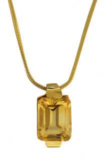 Collier Gold 585 mit Citrin Anhänger - Goldkette - Collitär Schlangenkette 14 kt
