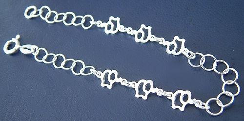 Reizendes Silberarmband mit Elefanten Armband Silber 925 Armkette Silberkette