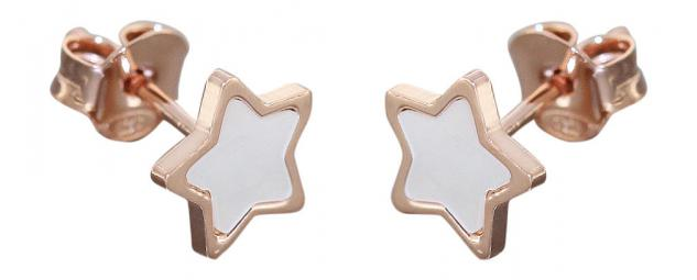 Stern Ohrstecker Silber 925 Rotgold vergoldet Sterne Perlmutt Ohrringe Sternchen