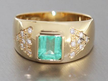 Traumhafter Smaragdring mit Brillanten - Ring Gelbgold 750 - Gold 18 Karat