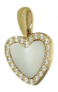 Kleines Herz Gold 585 mit Perlmutt und Zirkonia - Goldherz - Goldanhänger 14 kt