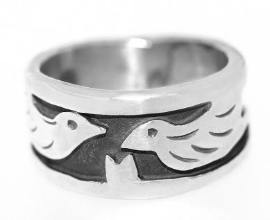 Massiver Silberring 925 mit Tauben Ring Silber geschwärzt Friedensring Taube
