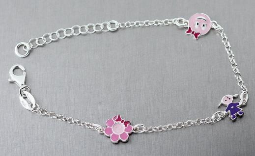 Armband für Kinder echt Silber 925 Silberarmband Armkette mit Blume Puppe Smiley